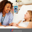 nurse and girl in hospital